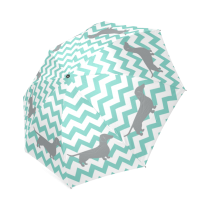 InterestPrint Hipster Blue Chevron Dachshund Fold Umbrella