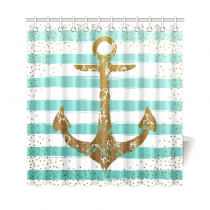 InterestPrint Nautical Sea Ocean Stripes Gold Anchor Custom Shower Curtain Waterproof Polyester Fabric Bathroom Sets Home Decor