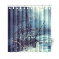 InterestPrint Pirate Ship Octopus Custom Shower Curtain Waterproof Polyester Fabric Bathroom Sets Home Decor