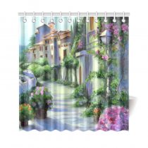 InterestPrint Oil-Painting Flower Street Custom Shower Curtain Waterproof Polyester Fabric Bathroom Sets Home Decor