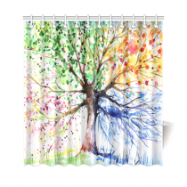 InterestPrint Colorful Tree Art Custom Shower Curtain Polyester Fabric Bathroom Sets Home Decor