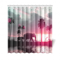 InterestPrint Elephants at Sunset Custom Shower Curtain Polyester Fabric Bathroom Sets Home Decor