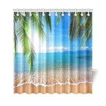 InterestPrint Tropical Beach Palm Custom Shower Curtain Polyester Fabric Bathroom Sets Home Decor