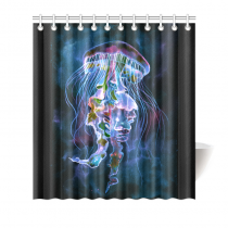 InterestPrint Home Bathroom Decor Watercolor Jellyfish Underwater Shower Curtain Hooks Blue Black Fabric Watercolor Jellyfish Underwater Art in the Deep Sea Ocean