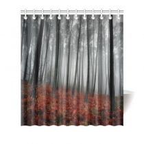 InterestPrint Home Bathroom Decor Autumn Tree Forest Shower Curtain Hooks Red Fabric Beautiful Natural Autumn Foggy Tree Forest