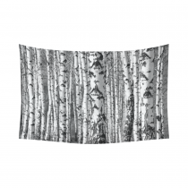 InterestPrint Natural Landscape Wall Art Home Decor, Birch Trunks Tree Art Black and White Cotton Linen Tapestry Wall Hanging Art Sets
