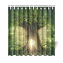 InterestPrint Fantasy Tree House Home Decor,Light Moonlight Forest Polyester Fabric Shower Curtain Bathroom Sets