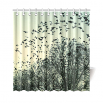 InterestPrint Birds Leaving Tree Polyester Fabric Shower Curtain Bathroom Sets Home Decor