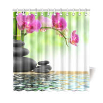 InterestPrint Zen Basalt Stones and Bamboo Japanses Polyester Fabric Shower Curtain Bathroom Sets Home Decor