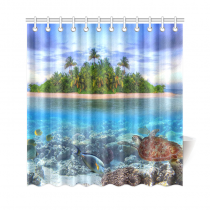 InterestPrint Marine Life Island Home Decor,Sea Turtle Tropical Sea Ocean Polyester Fabric Shower Curtain Bathroom Sets