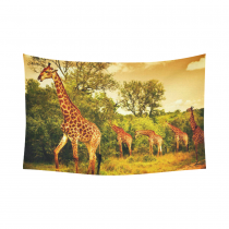 InterestPrint Wildlife African Safari Home Decor, Giraffe and Animals Art Wild Jungle Desert Themed Orange Brown Green Cotton Linen Tapestry Wall Hanging Art Sets