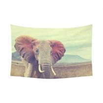 InterestPrint Vintage Style Wall Art Home Decor, Wild African Elephant in National Park of Kenya Cotton Linen Tapestry Wall Hanging Art Sets