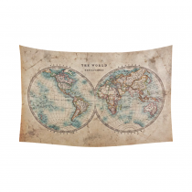 InterestPrint Global Map Wall Art Home Decor, Vintage Retro Style Old World Map from 1800s for Geography and History Print Cotton Linen Tapestry Wall Hanging Art Sets