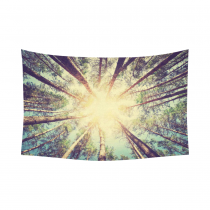 InterestPrint Woodland Wall Art Home Decor, Retro Vintage Style Forest with Sunlight Tree Branches Cotton Linen Tapestry Wall Hanging Art Sets