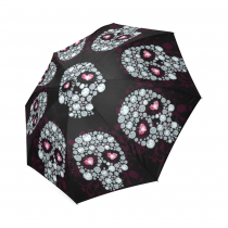 InterestPrint Stylish Cool White Sugar Skull Black Foldable Travel Fashion Umbrella