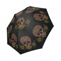InterestPrint Hipster Cool Colorful Sugar Skull Black Foldable Travel Fashion Umbrella