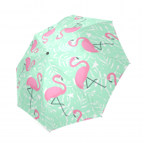 InterestPrint Stylish Pink Flamingo Green Palm Tree Foldable Travel Fashion Umbrella