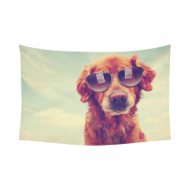 InterestPrint Retro Vintage Style Wall Art Home Decor, Funny Dog under the Beautiful Sky Cotton Linen Tapestry Wall Hanging Art Sets