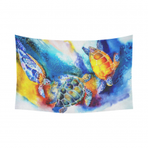 InterestPrint Abstract Tortoise Wall Art Home Decor, Watercolor Painting of Sea Turtles Cotton Linen Tapestry Wall Hanging Art Sets