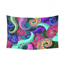 InterestPrint Underwater World Wall Art Home Decor, Colorful Octopus Cotton Linen Tapestry Wall Hanging Art Sets