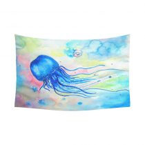 InterestPrint Watercolor Wall Art Home Decor, Tropcial Beach Sea life with Jellyfish Colorful Cotton Linen Tapestry Wall Hanging Art Sets