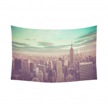 InterestPrint Cityscape Wall Art Home Decor, New York Skyline with Vintage Tone Cotton Linen Tapestry Wall Hanging Art Sets