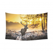 InterestPrint Beautiful Sunrise Landscape Wall Art Home Decor, Wildlife Deer in Jungle Woodland Cotton Linen Tapestry Wall Hanging Art Sets