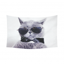 InterestPrint Funny Cat Wall Art Home Decor, Portrait of British Shorthair Gray Cat Wearing Sunglass Cotton Linen Tapestry Wall Hanging Art Sets