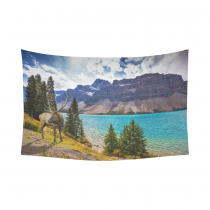 InterestPrint Beautiful Blue Sky Cloud Wall Art Home Decor, Deer on the Bank of Azure Lake Rocky Mountain Cotton Linen Tapestry Wall Hanging Art Sets