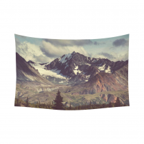 InterestPrint Snowy Nature Wall Art Home Decor, Mountain Landscapes Alaska Cotton Linen Tapestry Wall Hanging Art Sets