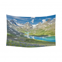 InterestPrint Nature Landscape Wall Art Home Decor, Russia Siberia Altai Mountains Cotton Linen Tapestry Wall Hanging Art Sets