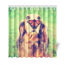 InterestPrint Vintage Retro Style Funny Animal Home Decor, Dachshund Dog with a Butterfly Polyester Fabric Shower Curtain Bathroom Sets