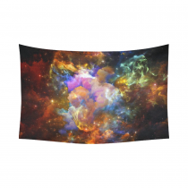 InterestPrint Universe Wall Art Home Decor, Once Upon a Space Series Backdrop of Fractal Cloud Cotton Linen Tapestry Wall Hanging Art Sets