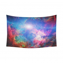 InterestPrint Universe Nebula Wall Art Home Decor, Galactic Space Blue Pink Cotton Linen Tapestry Wall Hanging Art Sets