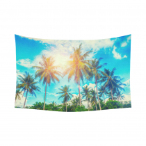 InterestPrint Tropical Seacape Wall Art Home Decor, Palm Trees on a Beautiful Clouds on Back Cotton Linen Tapestry Wall Hanging Art Sets