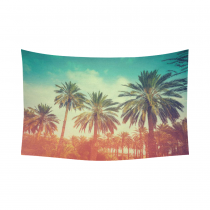 InterestPrint Tropical Seacape Wall Art Home Decor, Palm Trees against Sky at Sunset Light Cotton Linen Tapestry Wall Hanging Art Sets