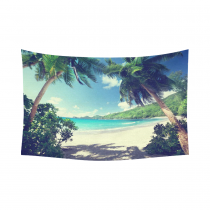 InterestPrint Tropical Palm Trees Wall Art Home Decor, Beach Takamaka Mahe island Seychelles Cotton Linen Tapestry Wall Hanging Art Sets