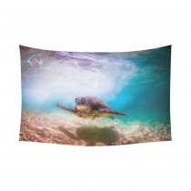 InterestPrint Underwater World Wall Art Home Decor, Ocean Aniaml Green Sea Turtle Cotton Linen Tapestry Wall Hanging Art Sets