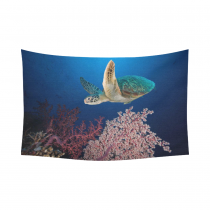 InterestPrint Underwater Ocean Animal Wall Art Home Decor, Sea Turtle at the Coral Reef Cotton Linen Tapestry Wall Hanging Art Sets
