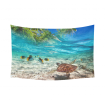 InterestPrint Underwater Animals Wall Art Home Decor, Green Turtle at Tropical Island of Caribbean Sea  Cotton Linen Tapestry Wall Hanging Art Sets