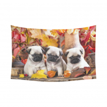 InterestPrint Animal Wall Art Home Decor, Cute Pug Dog Cotton Linen Tapestry Wall Hanging Art Sets