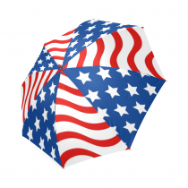 InterestPrint American Flag Striped Foldable Travel Rain Umbrella