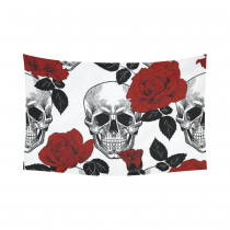 InterestPrint Floral Skull Wall Art Home Decor, Skull and Red Roses Cotton Linen Tapestry Wall Hanging Art Sets