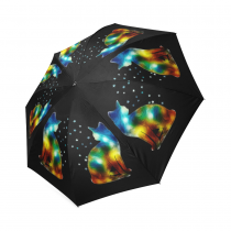 InterestPrint Colorful Space Cat Stars Foldable Travel Rain Umbrella