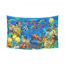 InterestPrint Underwater Wall Art Home Decor, The Fish and Coral Reef in Tropical Beach Cotton Linen Tapestry Wall Hanging Art Sets