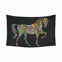 InterestPrint Animal Wall Art Home Decor, a Rainbow Horse Cotton Linen Tapestry Wall Hanging Art Sets