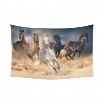 InterestPrint Wild Animal Wall Art Home Decor, Horse Herd Run in Desert Sand Storm Cotton Linen Tapestry Wall Hanging Art Sets