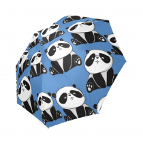 InterestPrint Lovely Panda Babys Blue Foldable Travel Rain Umbrella