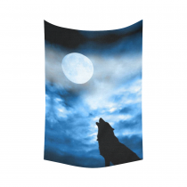 InterestPrint Glow in the Dark Full Moon Wolf Tapestry Wall Hanging Safari Animal Wall Decor Art for Living Room Bedroom Dorm Cotton Linen Decoration