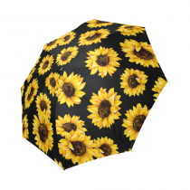 InterestPrint Vintage Yellow Sunflower Black Foldable Travel Rain Umbrella